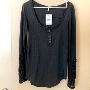Free People Washed Lace Cut Out Henley w/ Beads